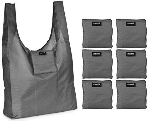 Reusable Grocery Shopping Bag - Replace Paper and Plastic Bags with these Large and Strong Eco Friendly Bags. The Bag Turns into a Carrying Pouch when Folded into Its Own Pocket. (Grey   6-Pack)