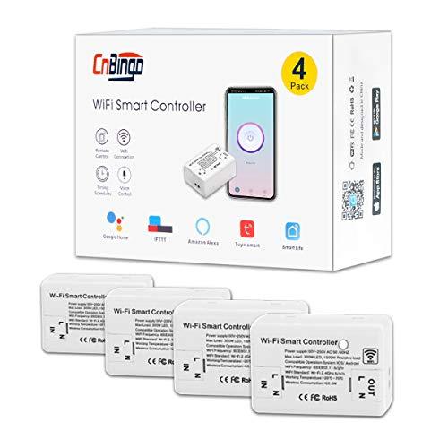 CNBINGO - Juego de 4 interruptores wifi/wifi, módulo mini para la mayoría de los dispositivos, interruptor de luz inteligente funciona con Alexa/Google Home, conductor neutro se requiere