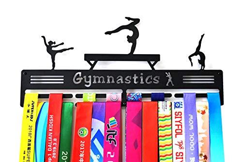 Medalla de gimnasia para medallas, medallas, soporte para medallas, expositor para porristas, acero metálico, mejores regalos para honores femeninos, Gymnastics medal hangers, negro, 40*18*0.3 cm