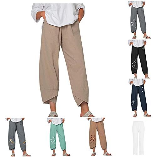 N\C Capri Pants for Women, Womens Summer Beach Capris Cropped Pants,Print Trouser,Casual Pockets Cotton Linen Wide Leg