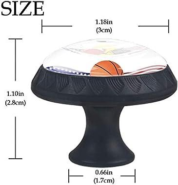 """Round Cabinet Hardware Knob (4 Pack) - Banner Sport Soccer Basketball Baseball Football - 1-37/100"""" Diameter - knobs for Dresser Drawers"""