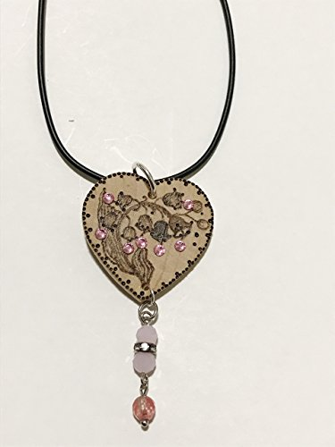 Wood heart shape pendant with black cord necklace, gift item, handmade pyrography (wood burning), floral...