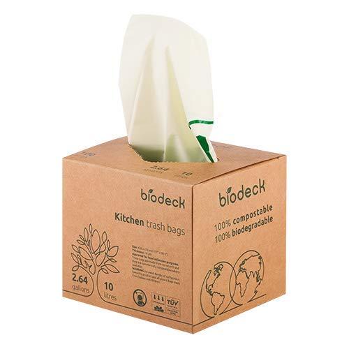 Bolsas para basura organica 100% biodegradables y compostables 10L, 100 unidades por paquete