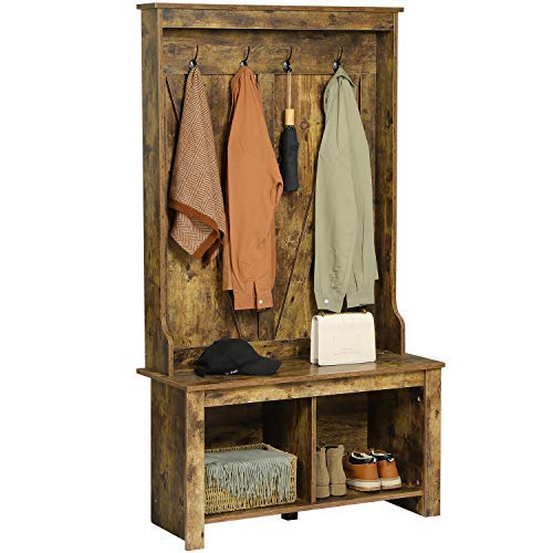 Itaar 38 Inch Wide Hall Tree with Storage Bench, Entryway Wooden Bench with Coat Rack,Hall Tree with 4 Metal Hooks and 2 Storage Organizer, Rustic Brown