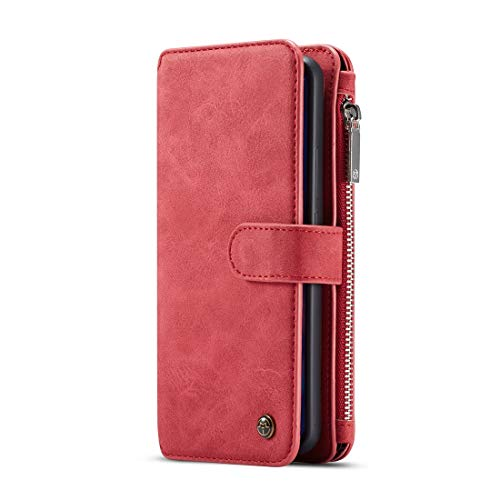 SZCINSEN Funda tipo cartera para Huawei P30 2 en 1 con cremallera de cuero desmontable magnética 14 ranuras para tarjetas, bolsa de embrague de cuero funda tipo cartera (color rojo)