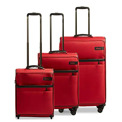 STRATIC Light Suitcase Set of 3 Soft Shell Suitcases Trolley Suitcases Travel Suitcases 4 Wheels TSA Combination Lock (S,M,L), Expandable, Red