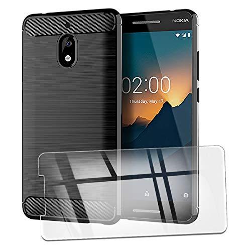 QFSM Custodia + 1 PCS Vetro Temperato per Nokia 2.1 Protettiva Nero Fibra di Carbonio TPU Anti-Knock Cover Case Black Silicone Shell with Vetro Pellicola Pellicola di Vetro Glass