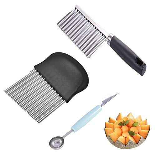 LxwSin Edelstahl Wellenschneider, Kartoffelschneider Edelstahl, 3 Stück Crinkle Cutter Kartoffelschneider Messer, Pommes Wellenmesser Gezackter Gemüseschneider, Crinkle Messerset und Obstschaufel