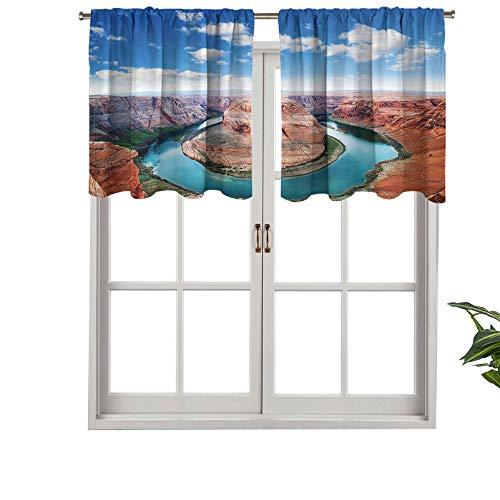 Hiiiman Cortinas cortas, protección de privacidad, zapatos de caballo, curva, borde norte, Grand Canyon Page Arizona, juego de 1, 137 x 45 cm, cortinas para ventana para baño, cocina, sala de estar