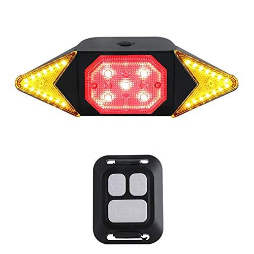 SVHK Lámpara trasera de la bicicleta, LED a prueba de agua Ciclismo recargable Luz trasera, con señales de giro, control remoto inalámbrico, luces traseras de freno de bicicleta de advertencia de segu