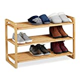 Relaxdays Schuhregal Bambus, stapelbares Schuhgestell mit 3 Ebenen, bis zu 9 Paar Schuhe, HBT: 50 x 75,5 x 33 cm, Natur, 1 Stück