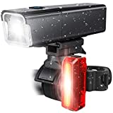 iKirkLiten Bike Lights Front and Back - True 800 Lumens Bike Headlight and Tail Rear Light, USB Rechargeable Bicycle Lamp Combo, IPX6 Waterproof, Easy to Install and Release, Versatile LED Flashlight