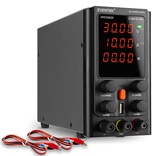 Fuentes de Alimentación Regulables, eventek Ajustable Fuente de alimentación 30V 10A de Regulada con Pantalla LED de 4 dígitos, Interfaz USB de 5V2A, Cable de Cocodrilo/líneas de Prueba
