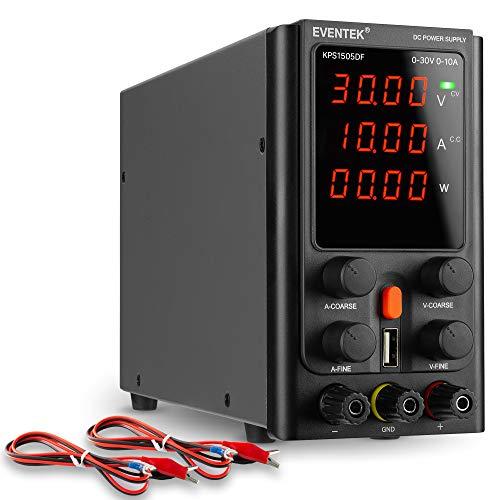 Labornetzgerät 30V 10A, Regelbar, eventek labornetzteil DC mit mit 4 stelliger LED Anzeige, 5V2A USB Schnittstelle, Alligatorenkabel/Prüfleitungen