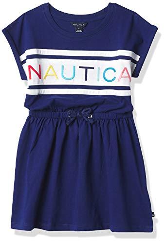 Nautica Girls' Cap Sleeve Logo Dress, Deep Navy, 4T