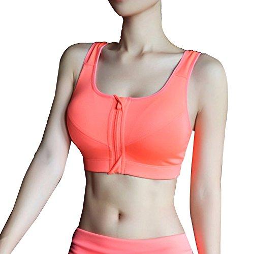LaoZan Damen Sport-BH Run Yoga Reißverschluss Bra Push Up Ohne Buegel Sport BH Bustier Stretch Sports Bra Top Orange S