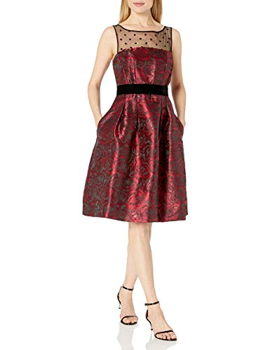 Eliza J Women's Fit and Flare Dress with Illusion Top, Black/Red, 14