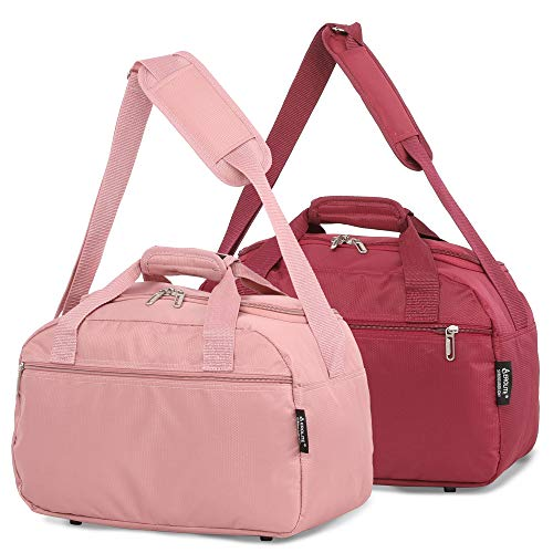 Aerolite Set of 2-35x20x20cm Maximum Ryanair Hand Luggage Cabin Holdall Bag - Carry on for Free with Ryanair! (Rose Gold + Wine)