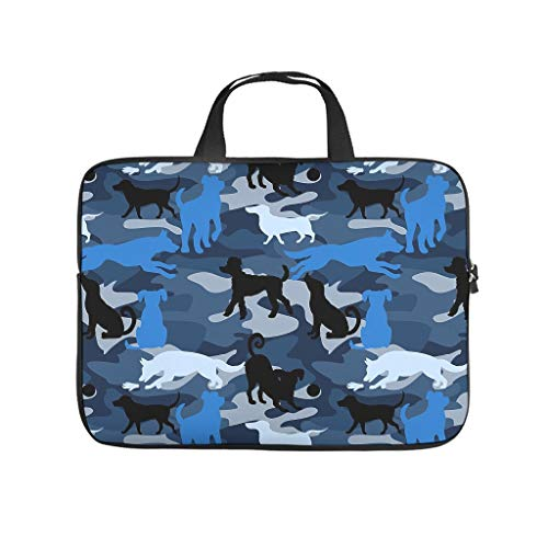 Laptop Shoulder Bag Flag Dog Blue Durable laptop bag for School white 13 zoll