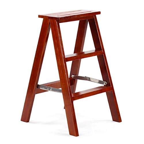 Multifunctionele Houten Krukken, Drie Stappen Vrije tijd Kruk Effen Hout Trappen Kleding/drank Winkel Dual-purpose Kruk Draagbare Ladder Krukje stabiel 43 * 50 * 71cm BRON