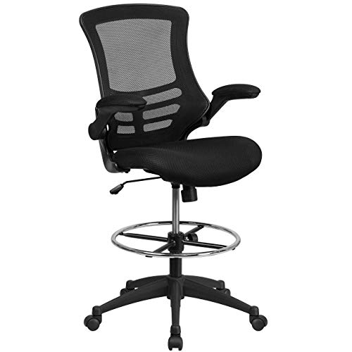 Flash Furniture Mid-Back Black Mesh Drafting Chair with Adjustable Foot Ring and Flip-Up Arms - BL-X-5M-D-GG (Renewed)