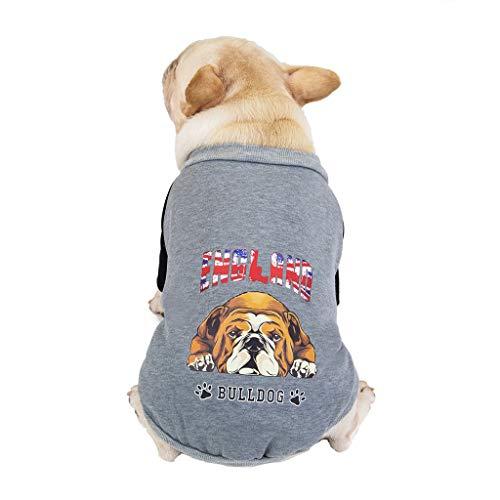Yowablo Haustier-Hund im Herbst und im Winter Striped Hooded Two Legged Cotton Padded Jacket (XL,2- Grau)