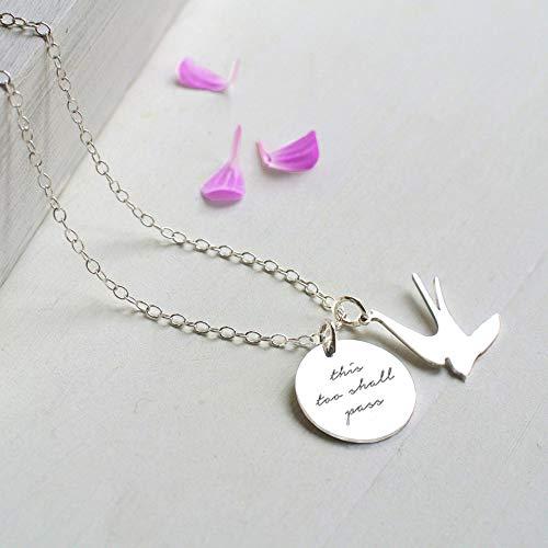 Argento Sterling Personalizzato 'this too shall pass' (anche questo deve passare) Disco e Collana di Rondine, regalo personalizzato, regalo motivazionale, collana di rondine, regalo di compleanno