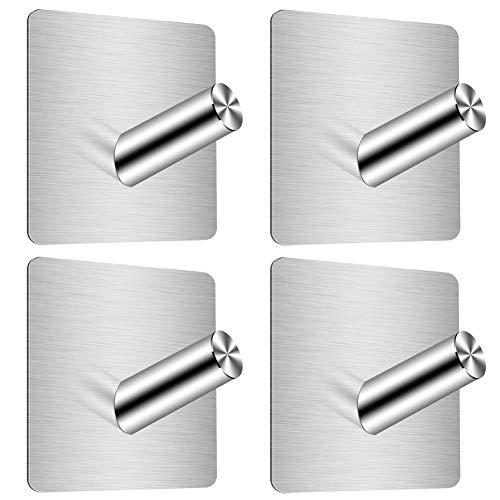Handtuchhaken 4 Stück, YFZYT Selbstklebend Handtuchhalter 304 Edelstahl, Wasserdicht Kleiderhaken Wandhaken Ohne Bohren, Ideal für Bad Toilette Küche Büro, Silber