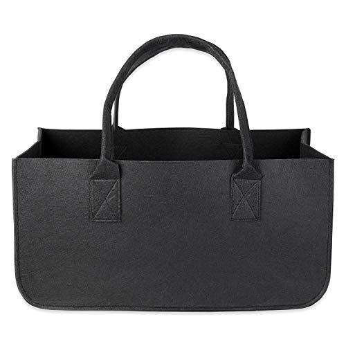 Schramm® 1 oder 2 Stück Filztasche Tasche aus Filz schwarz 50x25x25 cm Kaminholztasche Holzkorb Einkaufstasche Filzkorb Zeitungskorb Shopper Taschen Filztaschen, Größe:1 Stück