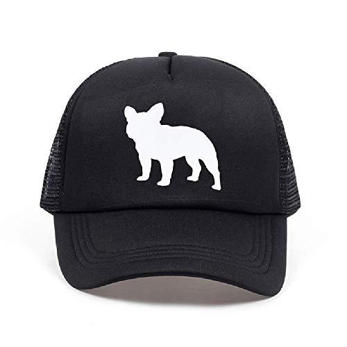 BDDLMM Nuevo Bulldog Francés Cartas Imprimir Gorra de béisbol Sombrero de Camionero para Mujeres Hombres Malla Unisex Tamaño Ajustable Negro Blanco