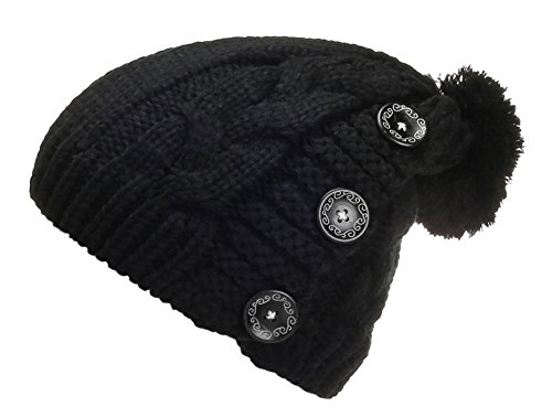 Spikerking Womens Winter Knitting Wool Warm Hat Daily Slouchy Beanie Skull Cap,Black