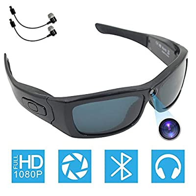 Bluetooth Camera Sunglasses Full HD 1080P Video Recorder Camera with UV Protection Polarized Lens, CAMXSW A Great Gift for Your Family and Friends, Black from CAMXSW