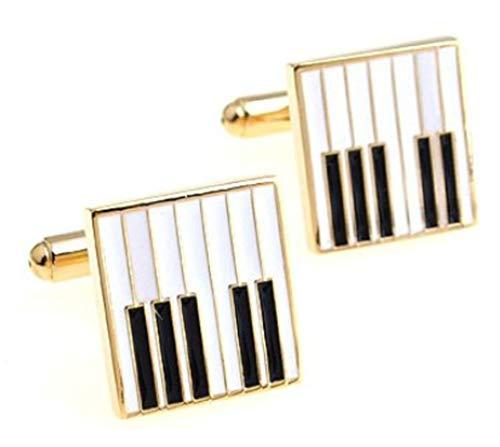 Llaves de Piano en Blanco y Negro con Gemelos de Regalo para Hombre con Placa de Oro por CUFFLINKS.DIRECT (Gemelos con Caja De Regalo)