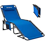 KingCamp Adjustable 4-Position Outdoor Chaise Lounge Chair Heavy Duty Camping Recliner Folding Cot with Pillow Pocket for Patio Garden Yard Lawn Sunbathing Beach Pool, Supports 265lbs