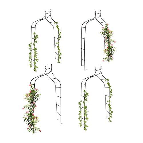 Relaxdays 4er Set Rankbogen Metall geschwungen 240 cm, royaler Rosenbogen mit Spitze, Rankhilfe und Gartendeko für Draußen, grün