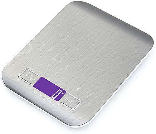 Auped Pantalla LCD Báscula Digital para Cocina de Acero Inoxidable, 5kg / 11 lbs Balanza de Alimentos Multifuncional, Peso de Cocina, Color Plata.