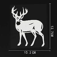 XHFF 10.2CMX12.7CMバックDoeの鹿の森ワイルドビニールステッカー車のステッカーブラック/シルバー (Color Name : Silver)