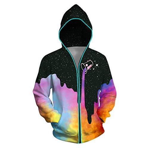 URVIP Unisex Light Up Pullover Hoodie 3D Print Zipper Battery Powered Sweatshirts Oil Paints BWLB-003 XL