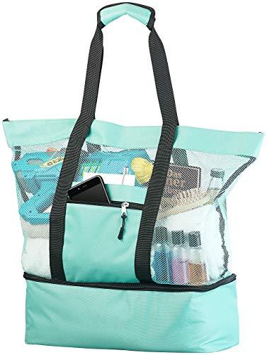 PEARL Strandtasche: Leichte 2in1-Strand-Netztasche mit Kühlfach und Seitenfach, hellblau (Saunatasche)