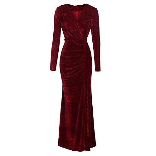 Vertvie Damen Kleid Herbst Winter Langarm Samt Velvet Vintage Elegant Maxikleid Partykleid...