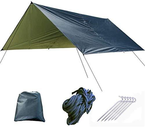 Abri extérieur de bâche, Protection UV Pieds Hamac Housse de bâche Tente Étanche Rain Fly Tarp Shelter avec piquets Cordes Survie