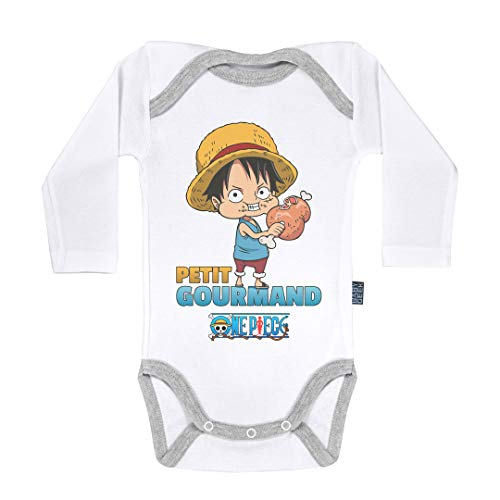 Baby Geek Petit Gourmand - Luffy - One Piece ™ - Licence Officielle - Body Bébé Manches Longues (6-12 Mois)