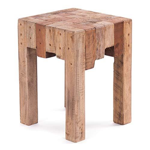 DESIGN DELIGHTS RUSTIKALER Holz SITZHOCKER Natura | 40x30x30cm (HxBxT), Altholz massiv | Schemel aus Holz, Holzhocker