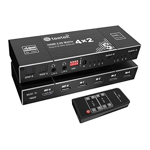 4X2 HDMI Matrix Switch, 4K @ 60Hz, 4 HDMI Eingänge schalten und auf 2 HDMI Displays aufteilen, mit EDID Extractor und IR Remote Control Support