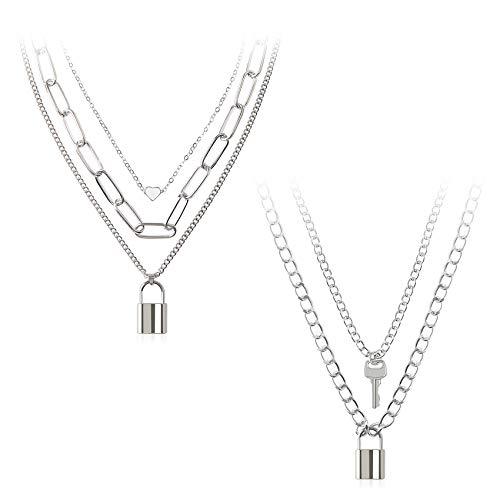 BVROSKI Lock Chain Necklace, Egirl Chains, Key Pendant Necklace Silver Set Eboy Long Multilayer Chains Punk Choker 2 Set(5 Layer)-BVN108 Silver-A