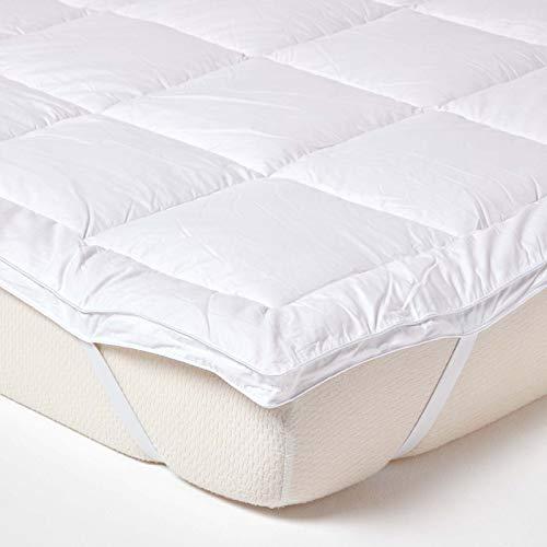 Homescapes 100% pura seta di gelso Blend, per materassi fino a 36cm di profondità 700GSM Heavy Weight Luxury topper, White, Singolo (90 x 190 cm)