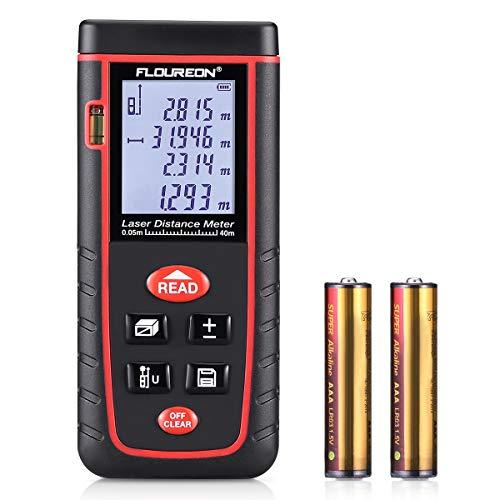 Floureon Laser-Entfernungsmesser Distanzmesser Distanzmessgerät 0.05 bis 40m distanz Messgerät Hohe Präzision inkl. Schutztasche, 2 x 1,5 V AAA-Batterie, Tragseil