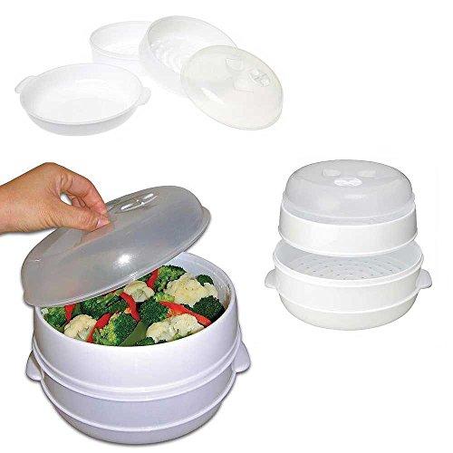 Kabalo 2 Niveau Micro-Ondes légumes Vapeur cuiseur Cuisine cuisinière Pot de Cuisine sain