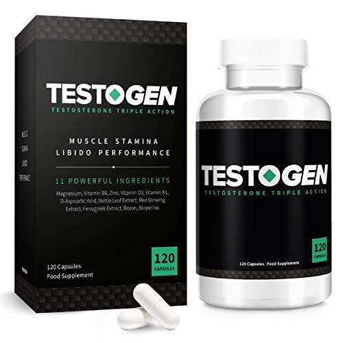 TestoGen Triple Action, le Booster de testostérone avec de puissants ingrédients naturels, aide à améliorer l'endurance, la force et l'énergie (120 capsules)