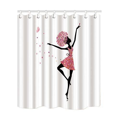 JoneAJ Sombra de niña Linda en Vestido de Flores Cortina de Ducha Bailarina Impresión en 3D Baño de Tela de poliéster Revestido Impermeable con 12 Ganchos de 71 Pulgadas